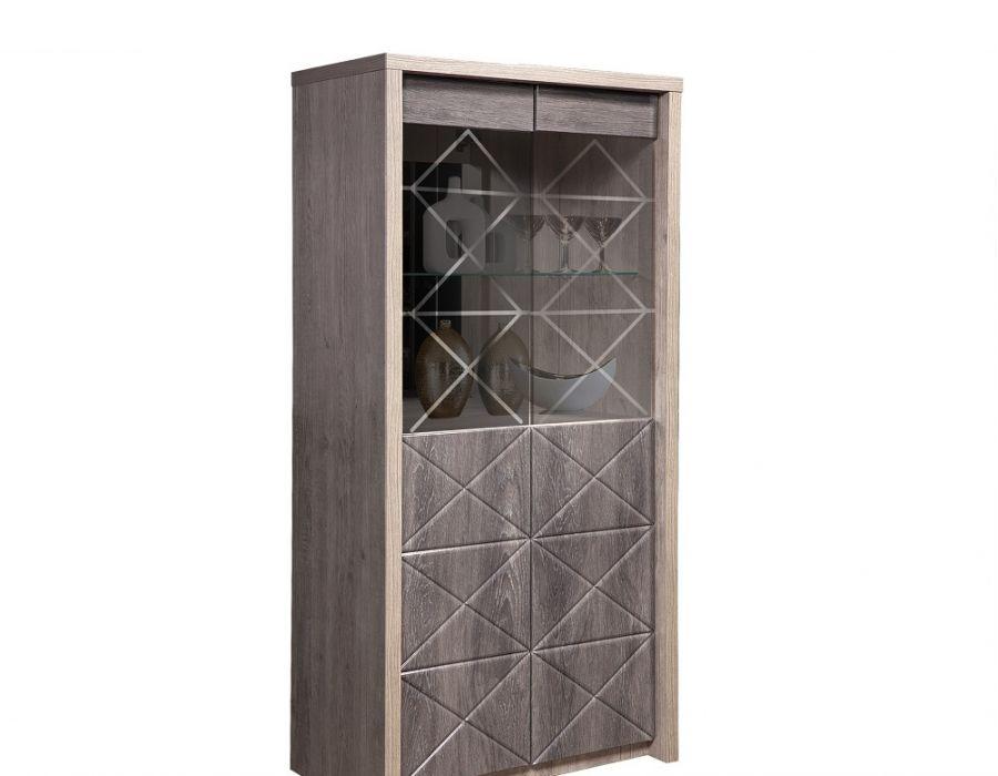 Шкаф с витриной «2д монако» кмк 0673.5, дуб шато/сосна натуральная