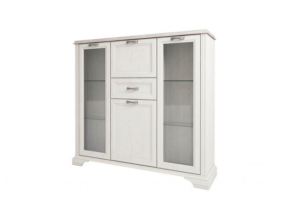 Шкаф с витриной Анрэкс Монако 2V2D1S, дуб