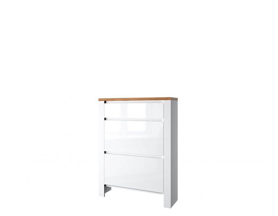 Тумба для обуви Анрэкс Таурус 2D1S, белый глянец /дуб вотон