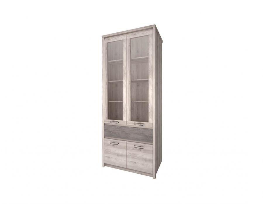 Шкаф с витриной Анрэкс Джаз каштан 2V2D1S, каштан найбори