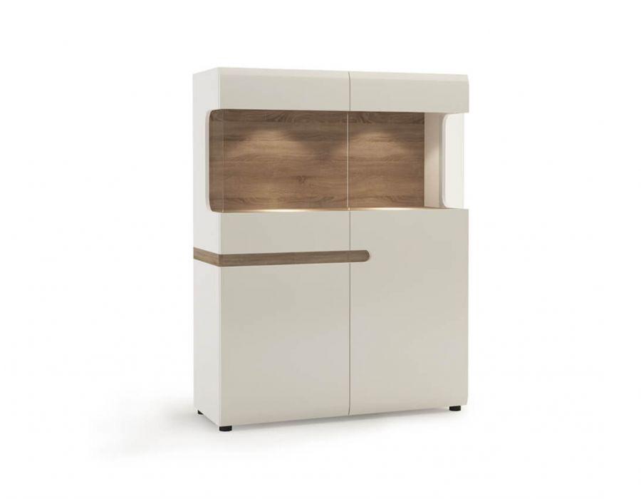 Шкаф с витриной Анрэкс Линэйт 3D-1S / TYP 33, белый