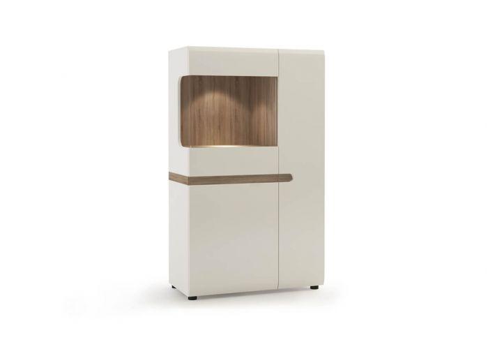 Шкаф с витриной Анрэкс Линэйт 3D-1S / TYP 32, белый