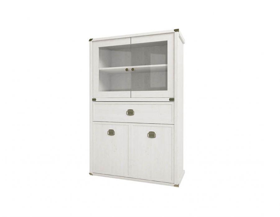 Шкаф с витриной Анрэкс Магелан сосна 2V2D1SL, белый