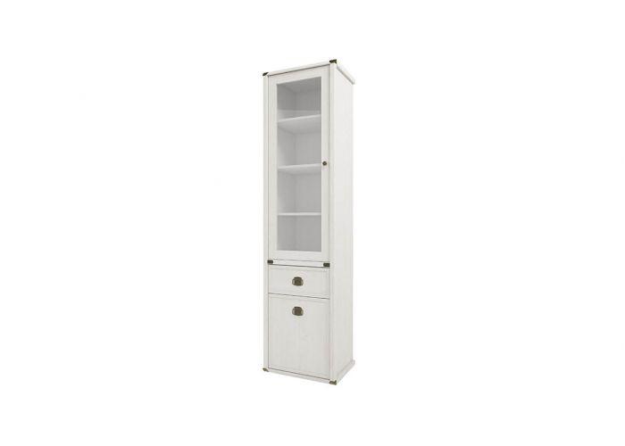 Шкаф с витриной Анрэкс Магелан сосна 1V1D1S, белый