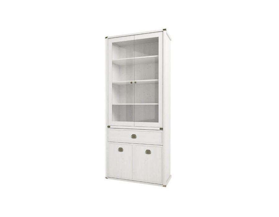 Шкаф с витриной Анрэкс Магелан сосна 2V2D1S, белый