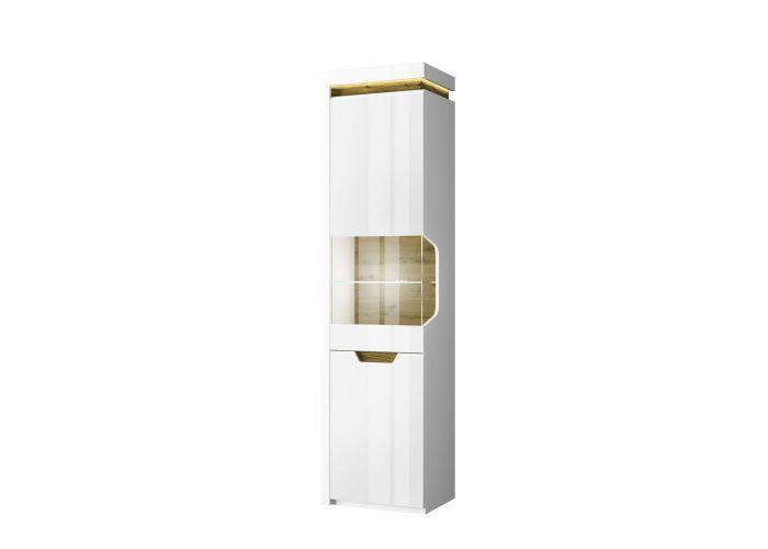 Шкаф с витриной 1V1D L, TORINO, цвет белый/Дуб наварра, шт