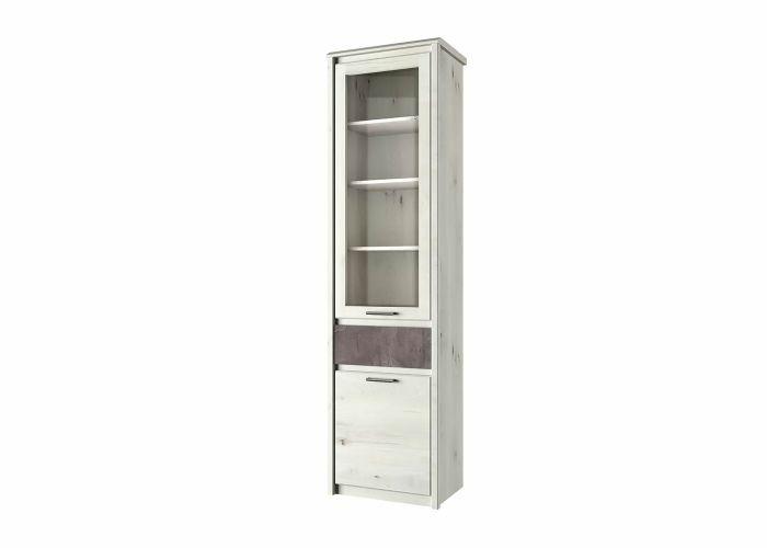 Шкаф с витриной 1V1D1S, BJORK, цвет ольха полярная/оникс, шт