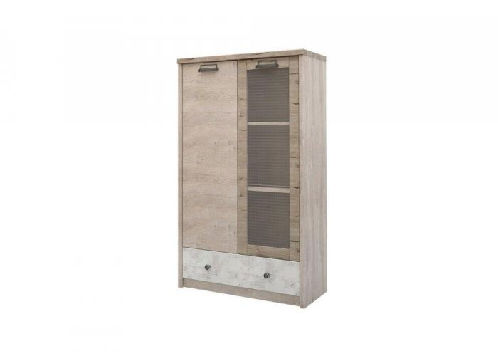 Шкаф с витриной 1V1D1SL/D2, DIESEL , цвет дуб мадура/энигма