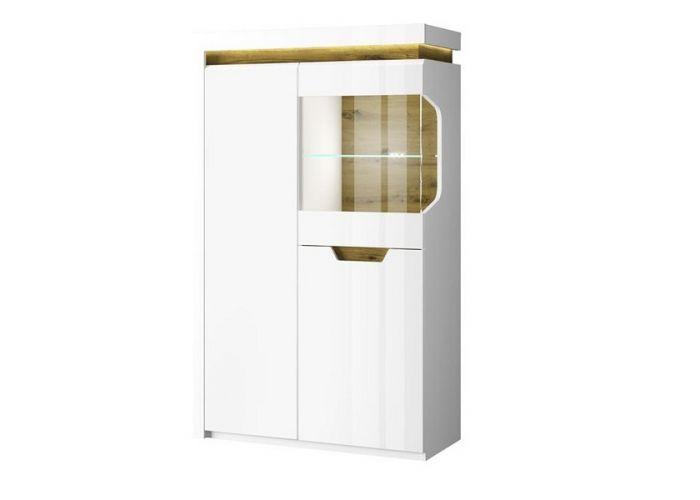 Шкаф с витриной 1V2D L, TORINO, цвет белый/Дуб наварра, шт