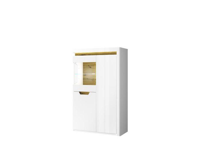 Шкаф с витриной 1V2D P, TORINO, цвет белый/Дуб наварра, шт