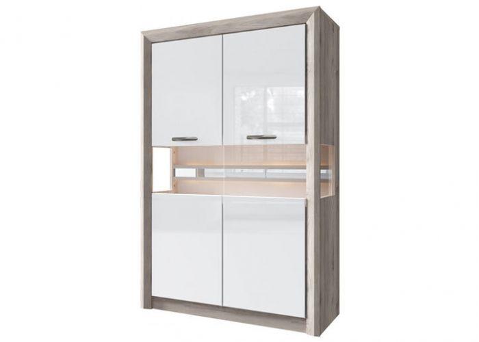 Шкаф с витриной 2V, ORLANDO , цвет каштан найроби/белый глянец, шт
