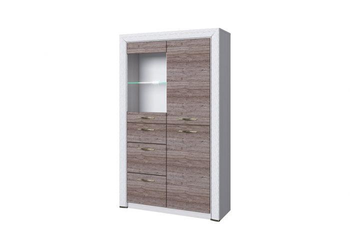 Шкаф-витрина 1V2D3S, OLIVIA, цвет вудлайн крем/дуб анкона