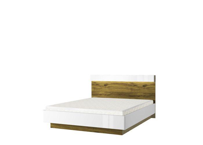 Кровать 160 с подъемником, TORINO, цвет белый/Дуб наварра, шт