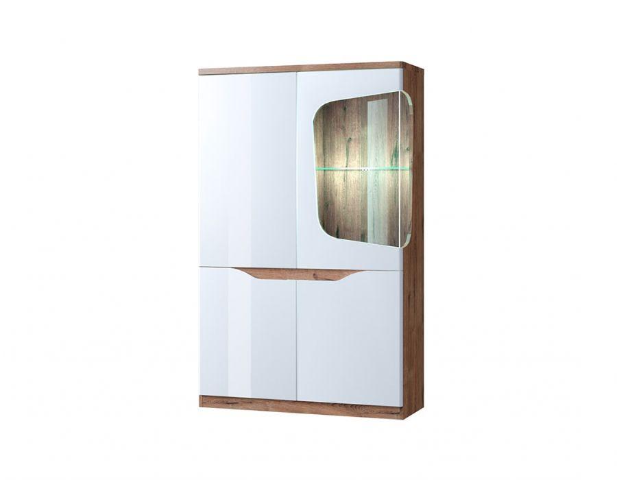 Шкаф с витриной Анрэкс Эвора 1V3D P, Дуб веллингтон/белый