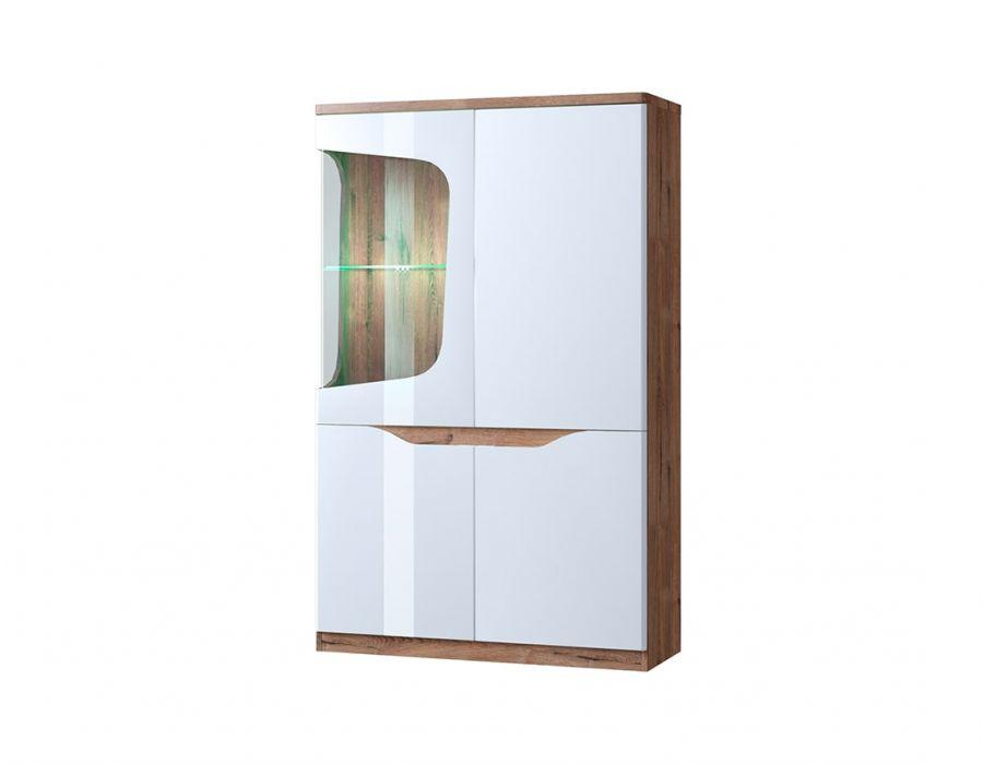 Шкаф с витриной Анрэкс Эвора 1V3D L, Дуб веллингтон/белый