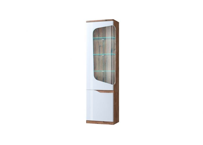 Шкаф с витриной Анрэкс Эвора 1V1D L, Дуб веллингтон/белый