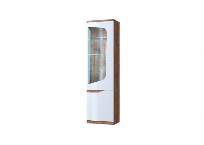 Шкаф с витриной Анрэкс Эвора 1V1D P, Дуб веллингтон/белый