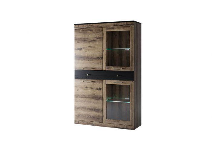 Шкаф с витриной Анрэкс Джаггер 2V2D1S, дуб