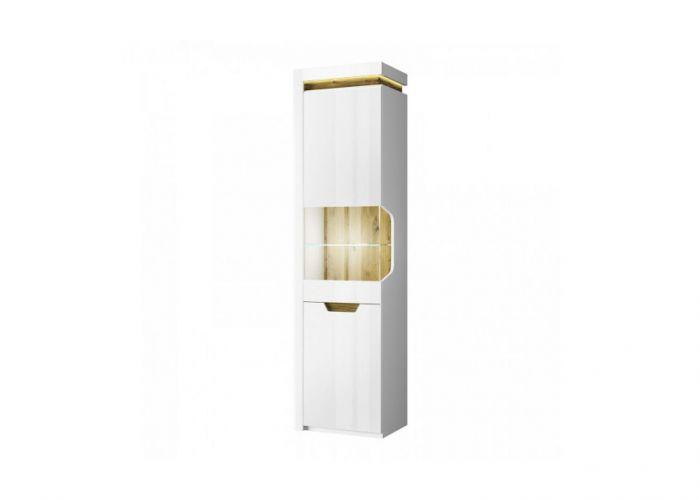 Шкаф с витриной 1V1D P, TORINO, цвет белый/Дуб наварра, шт