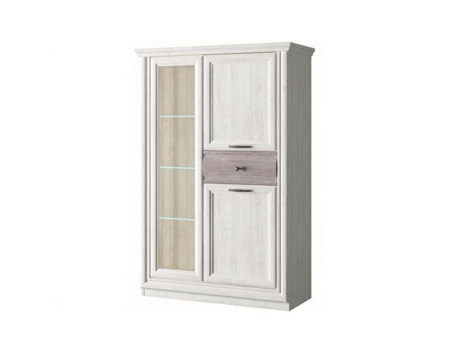 Шкаф с витриной 1V2D1S, Бордо, цвет орех элия светлый/Эльмо, шт