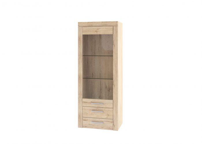 Шкаф-витрина 1V2SL, OSKAR , цвет дуб Санремо