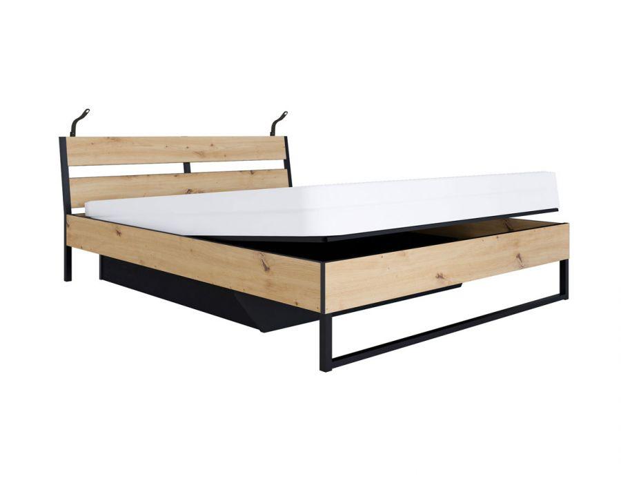 016 Бруклин кровать B172-LOZ/160/B с подъемным механизмом с подсветкой Дуб артизан/Графит /BRW