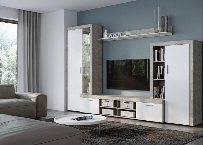Стенка SKYE (Beton Jasny Atelier/Белый)