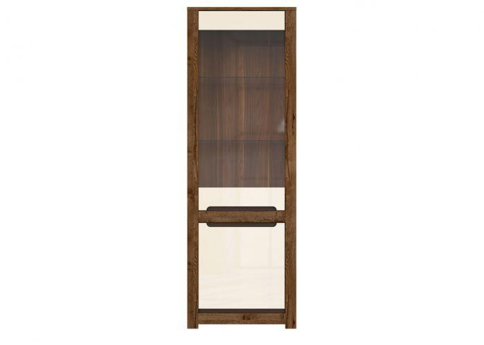Шкаф-витрина Русо S407-REG1W1D, дуб April/жемчужный глянец