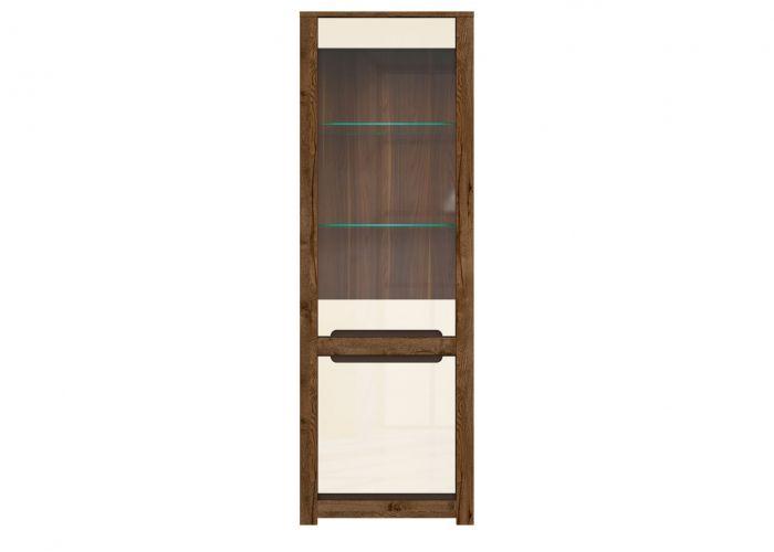 Шкаф-витрина с подсветкой Русо S407-REG1W1D, дуб April/жемчужный глянец