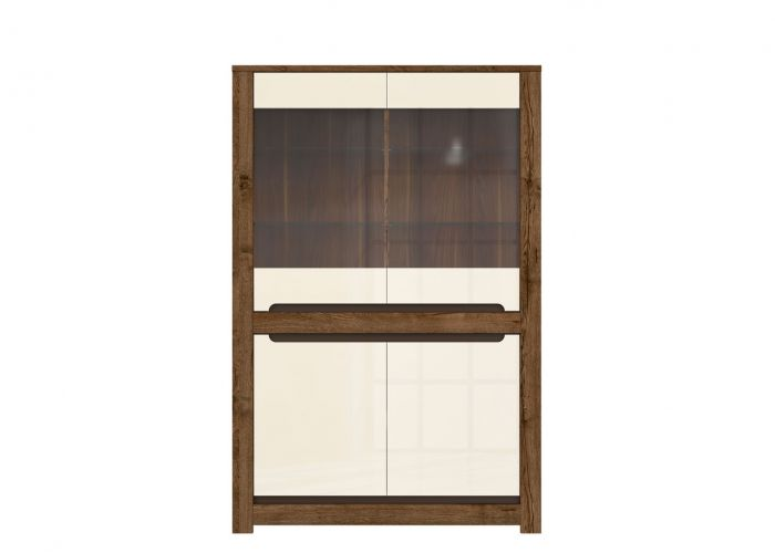 Шкаф-витрина Русо S407-REG2W2D, дуб April / жемчужный глянец