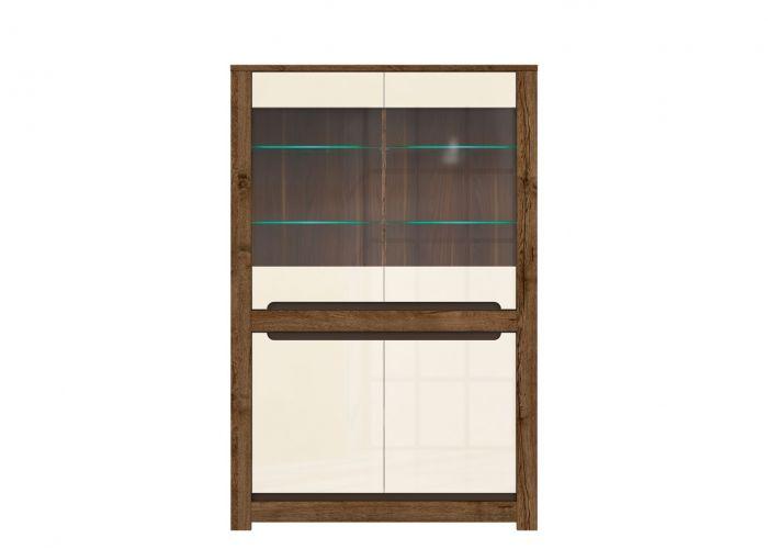006-1 Русо шкаф S407-REG2W2D с подсветкой Дуб April/Жемчужный глянец /BRW
