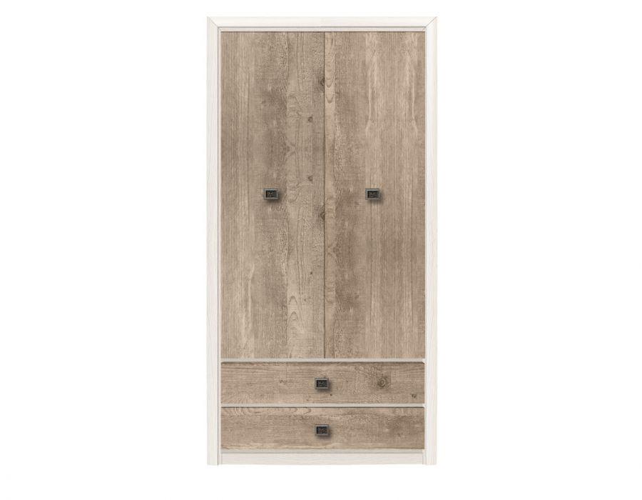 Двухстворчатый шкаф Koen, SZF2D2S, ясень снежный/сосна натуральная