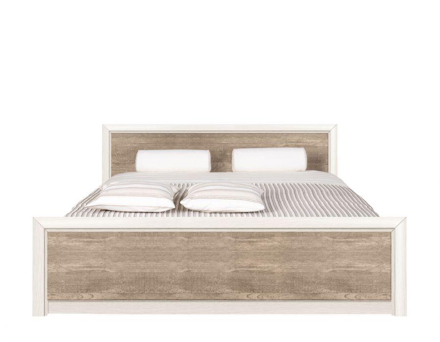 Двуспальная кровать Коен, LOZ/160, ясень снежный/сосна натуральная с основанием