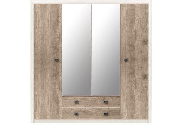 Шкаф  4-х створчатый Коен, SZF4D2S, ясень снежный/сосна натуральная